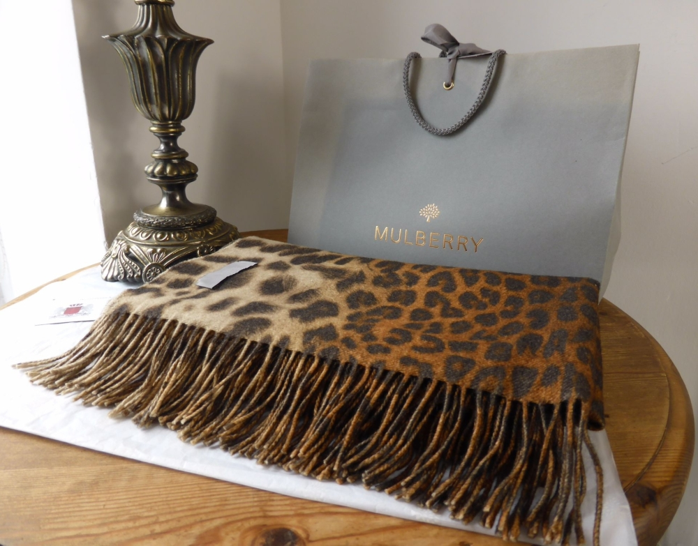 Mulberry Large Fringed Scarf in Reversible Flame Leopard & Tiger Print Wool