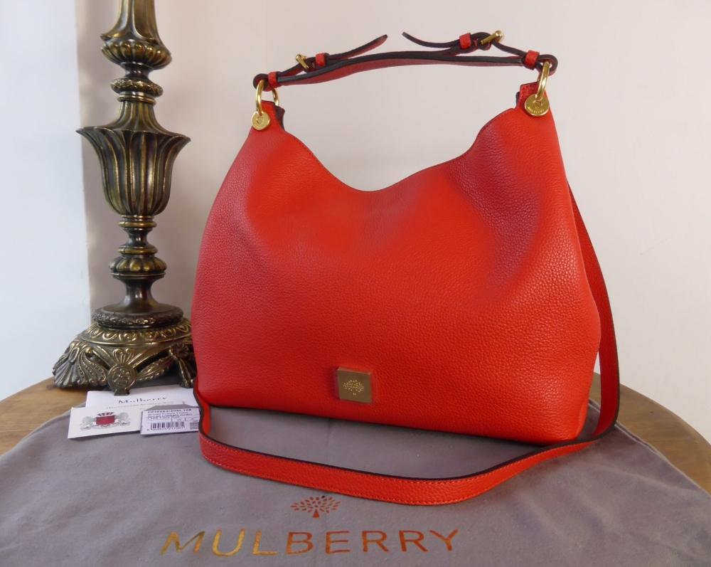 Mulberry Freya Smaller Sized Hobo in Fiery Spritz Small Classic Grain - New