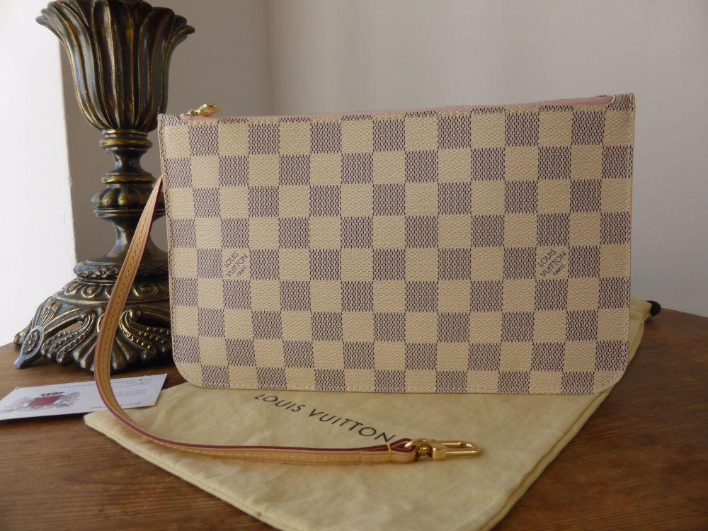 Louis Vuitton Zip Pochette Pouch Wrislet from Neverfull MM in Damier Azur w