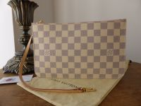 Louis Vuitton Zip Pochette Pouch Wrislet from Neverfull MM in Damier Azur with Rose Ballerine Lining