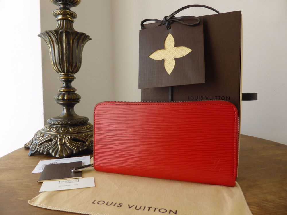 Louis Vuitton Zippy Continental Wallet in Coquelicot Epi Leather