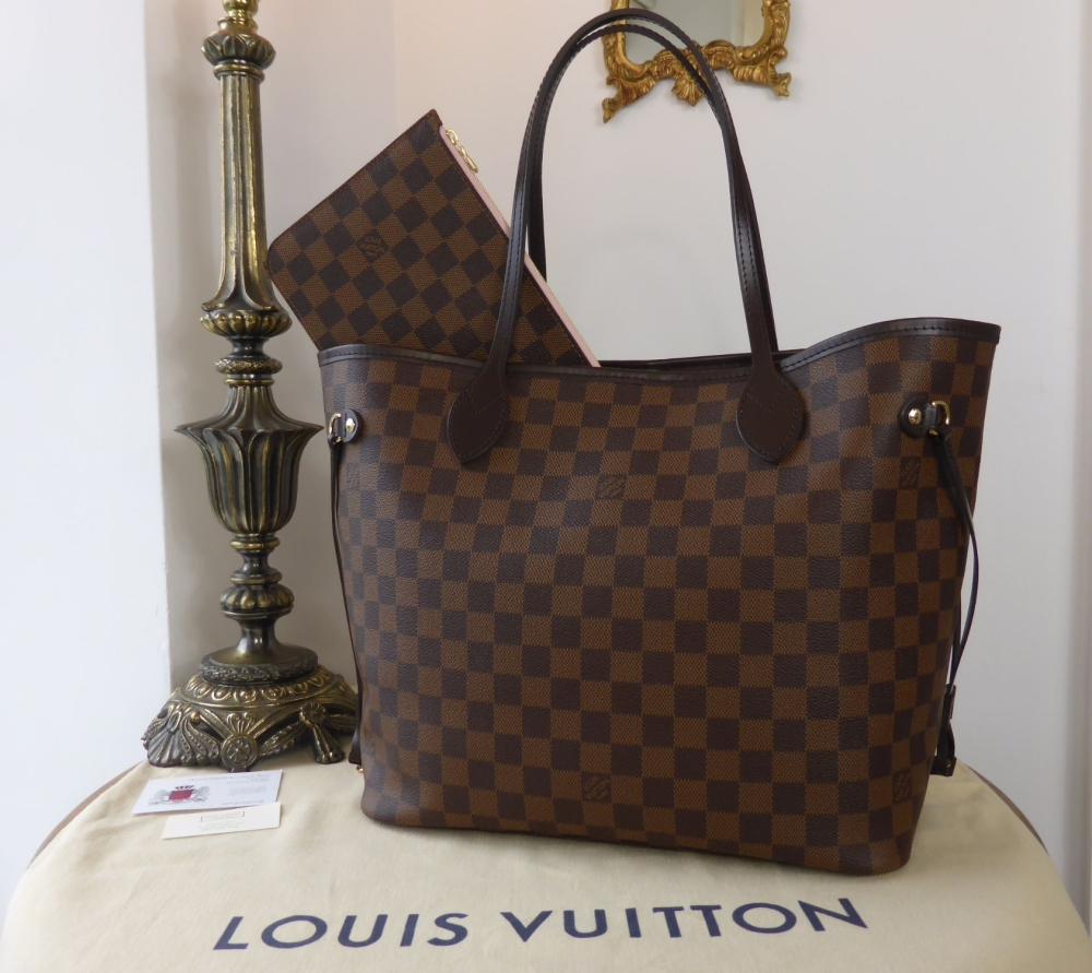 Louis Vuitton Neverfull MM in Damier Ebene with Rose Ballerine Lining