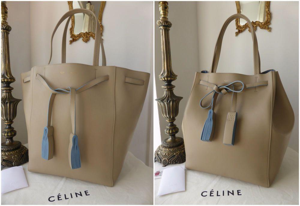 Céline Medium Cabas Phantome with Tassles in Beige Bicolor Smooth Calfskin