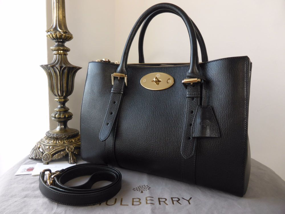Mulberry Large Double Zip Bayswater Tote in Black Shiny Goat