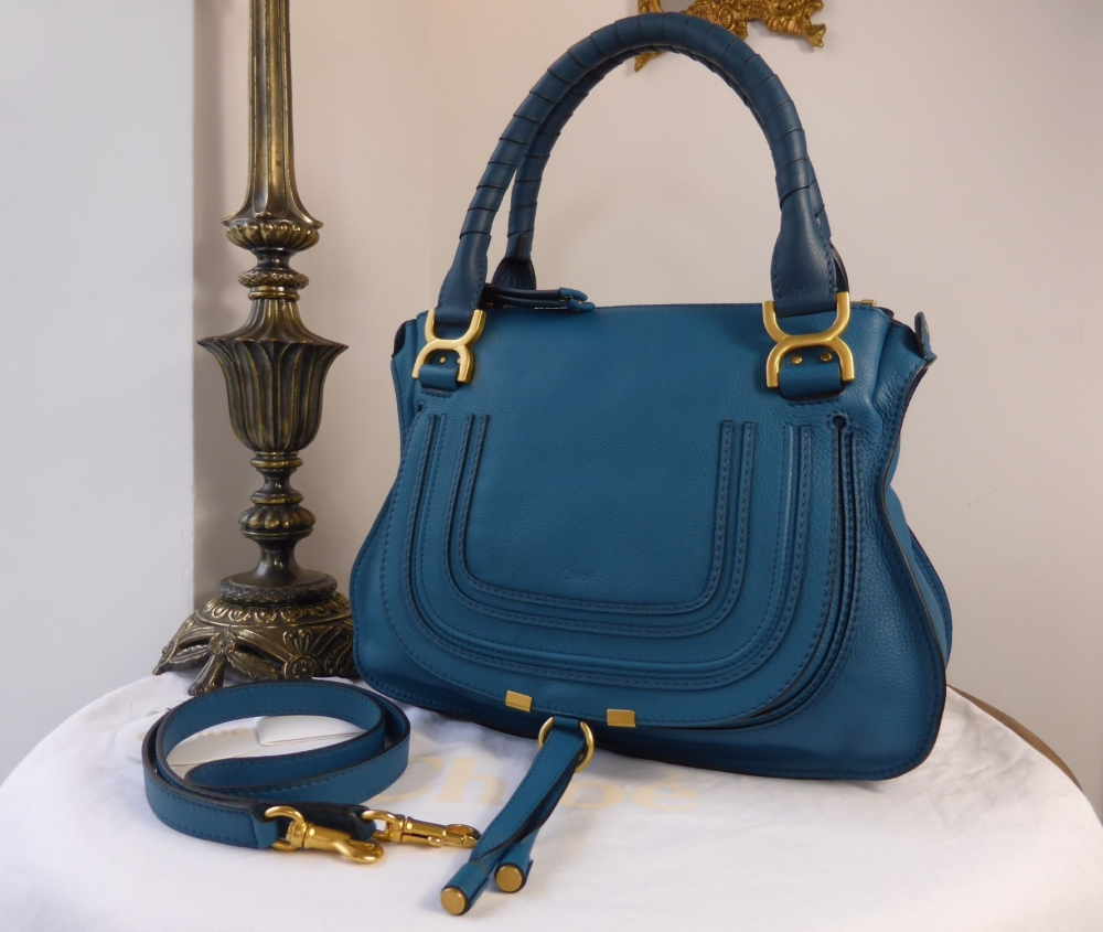 Chloe Marcie Medium Shoulder Satchel in Laguna Blue Calfskin - As New*