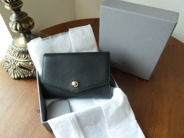 Mulberry Dome Rivet French Purse in Black Shiny Goat Leather - As New