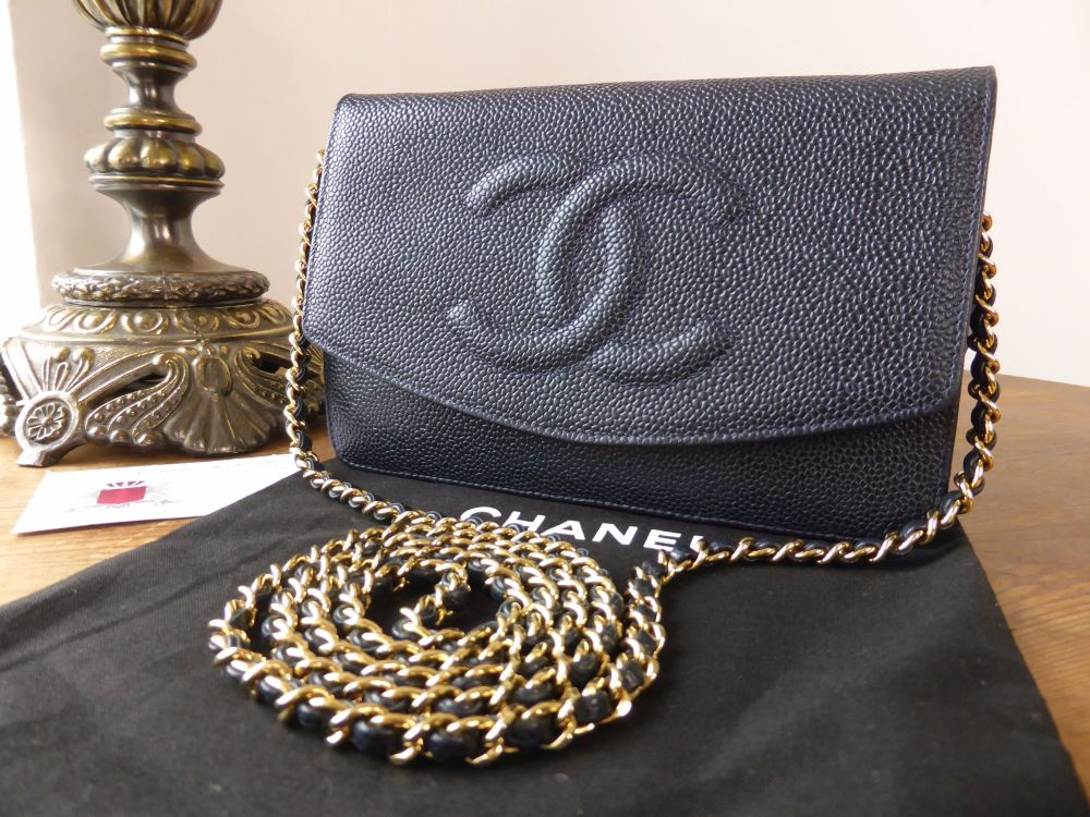 Chanel Vintage Wallet on Chain in Navy Caviar with Gold Hardware