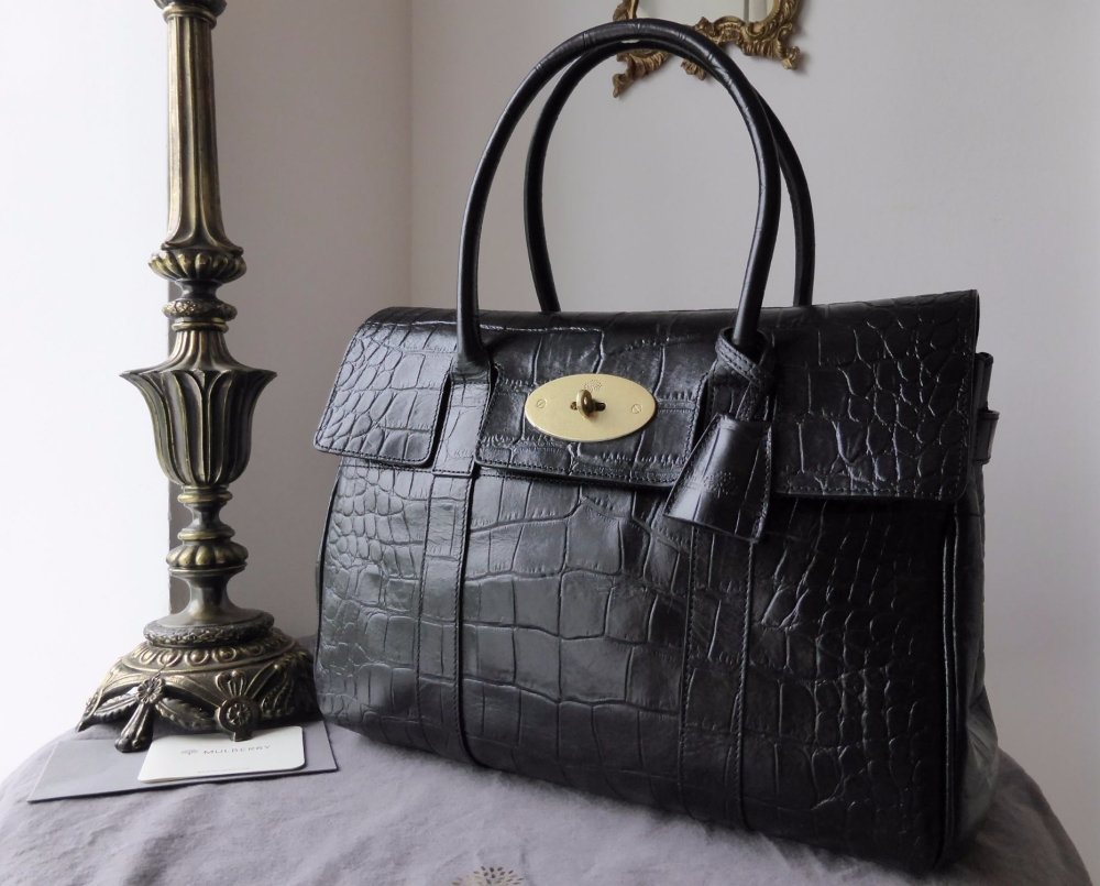 Mulberry Classic Heritage Bayswater in Black Printed Leather - As New