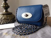 Mulberry Mini Lily in Sea Blue Small Classic Grain with Silver Hardware - New