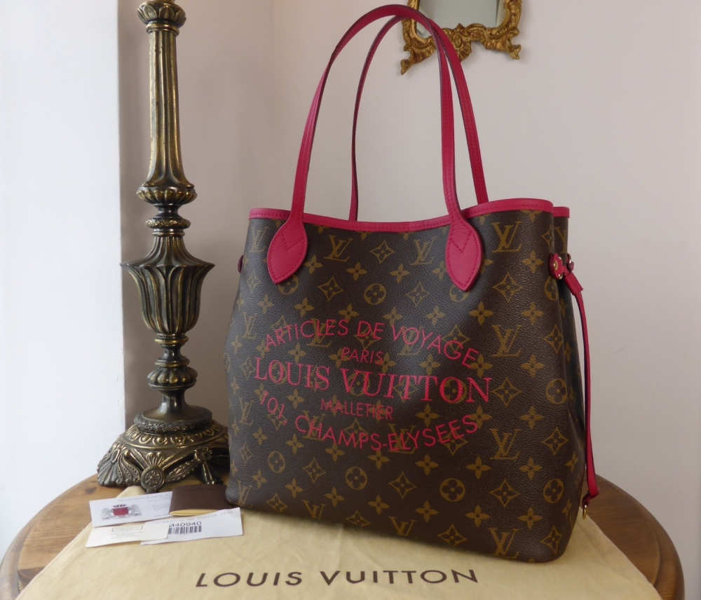 Louis Vuitton Limited Edition Neverfull MM Ikat in Monogram Fushia