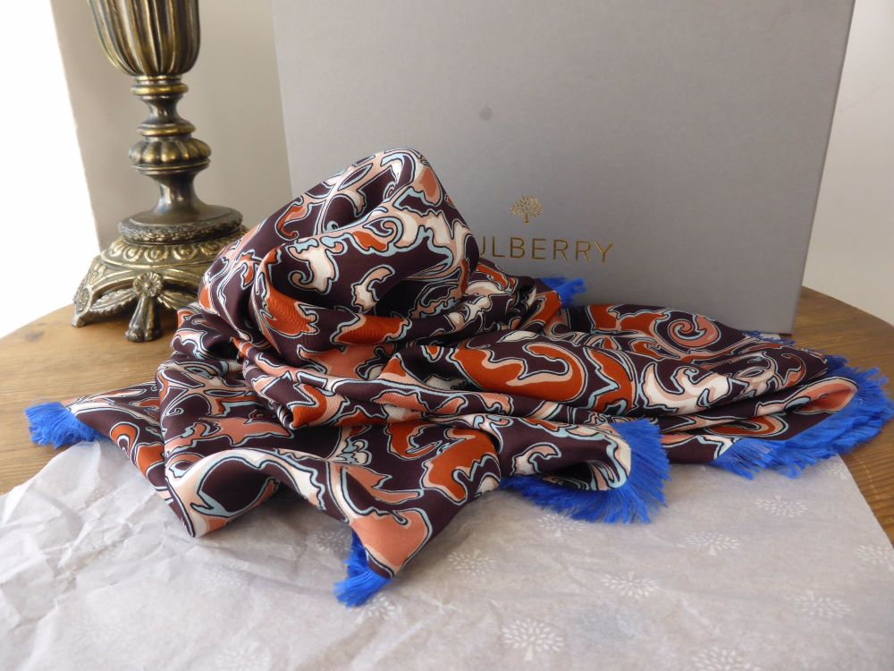 Mulberry Acorn Leaves 100% Silk Square Scarf Wrap - As New