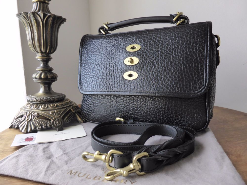 Mulberry Bryn in Black Shiny Grain Leather - As New