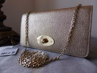 Mulberry Baywater Shoulder Clutch Wallet in Metallic Mushroom Goatskin - New