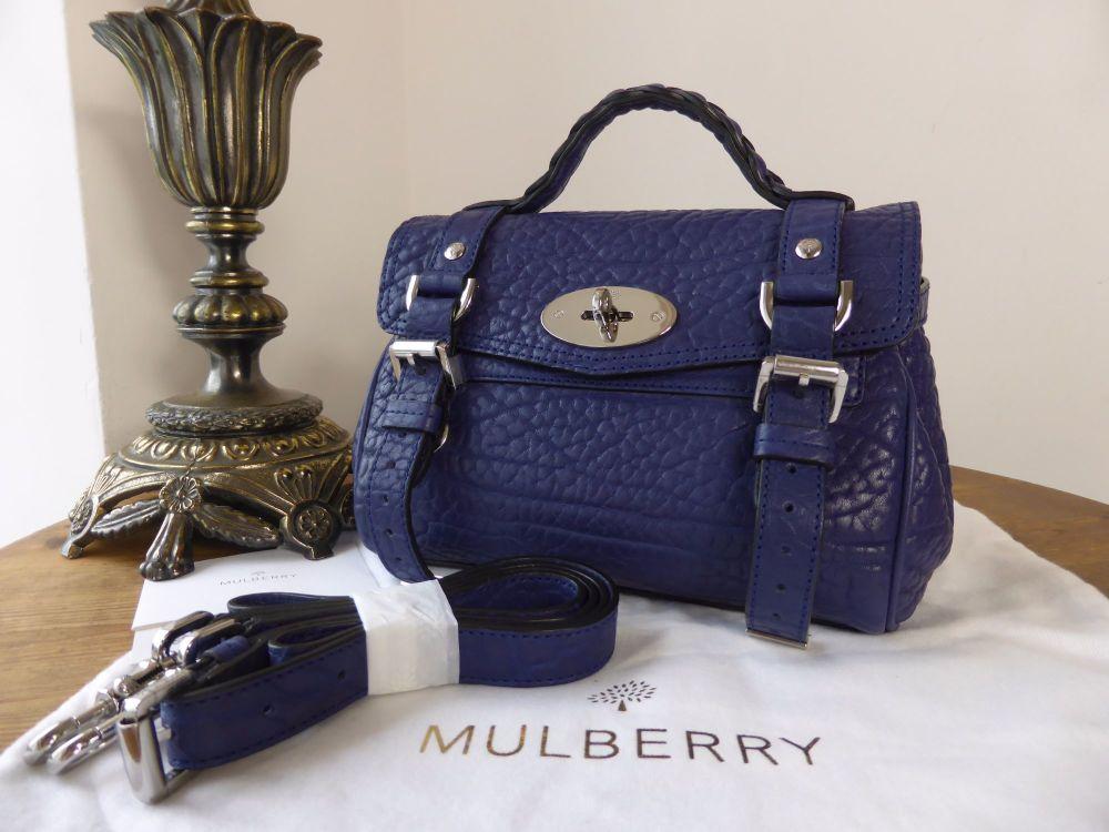 Mulberry Mini Alexa in Indigo Blue Shrunken Calf Leather - As New