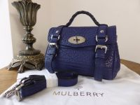 Mulberry Mini Alexa in Indigo Blue Shrunken Calf Leather - As New