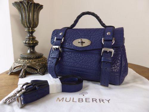 cefc3db8ba87 Mulberry Mini Alexa in Indigo Blue Shrunken Calf Leather - As New