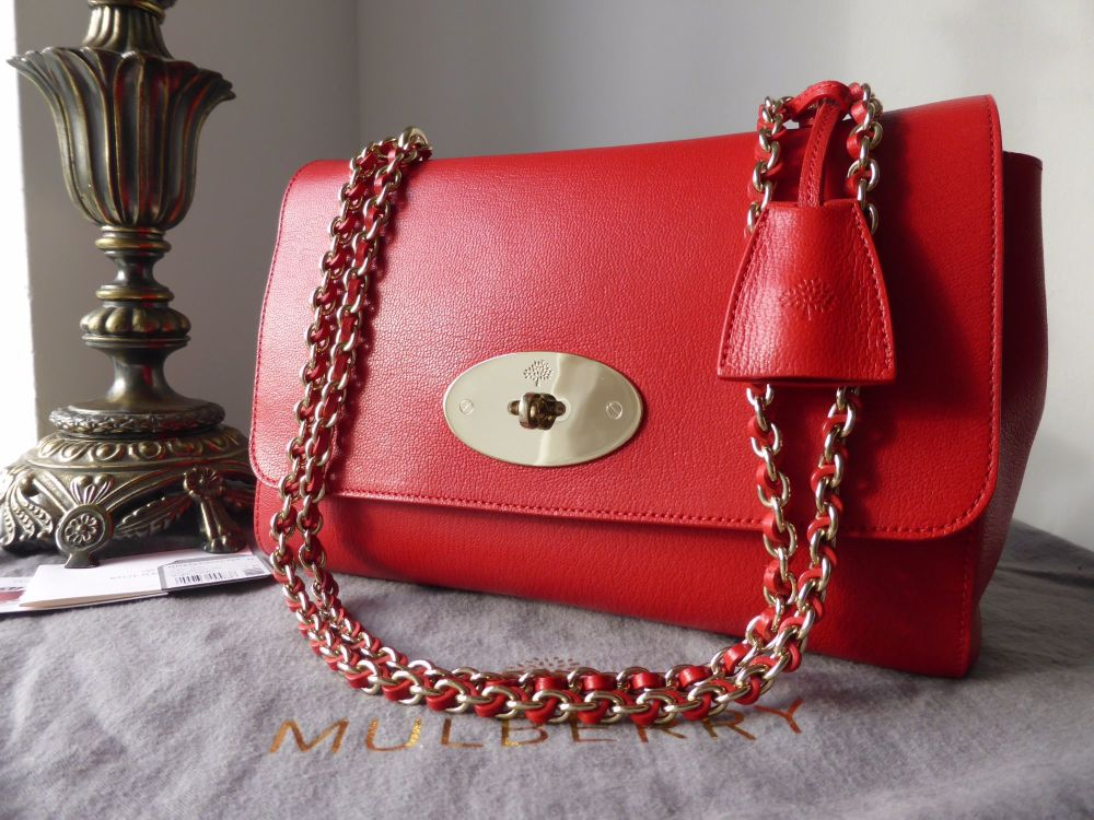 Mulberry Medium Lily in Bright Red Shiny Goat Leather