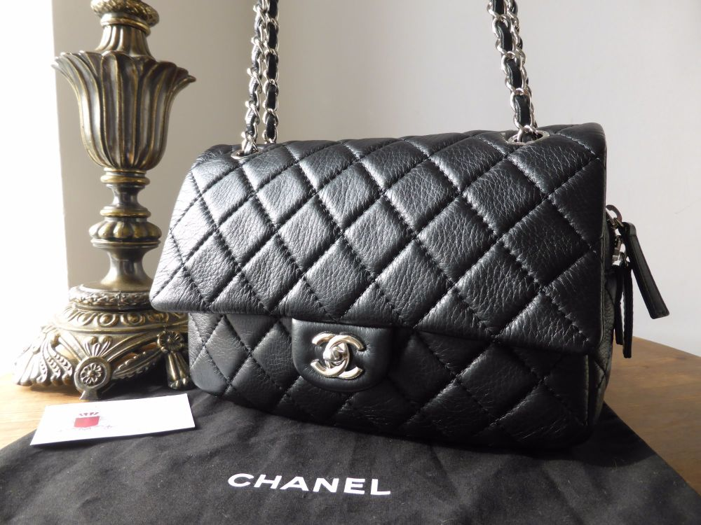 Chanel Medium Easy Flap Bag in Black Aged Calfskin with Silver Hardware
