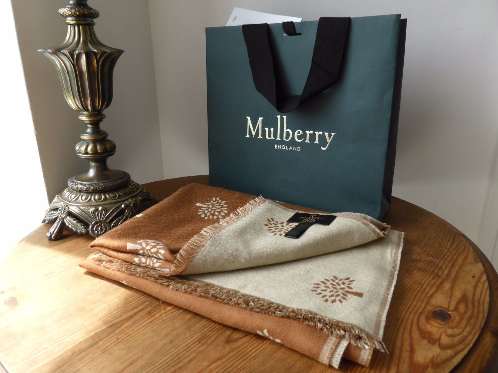Mulberry Trees Scarf Wrap in Reversible Oak and Fudge Wool