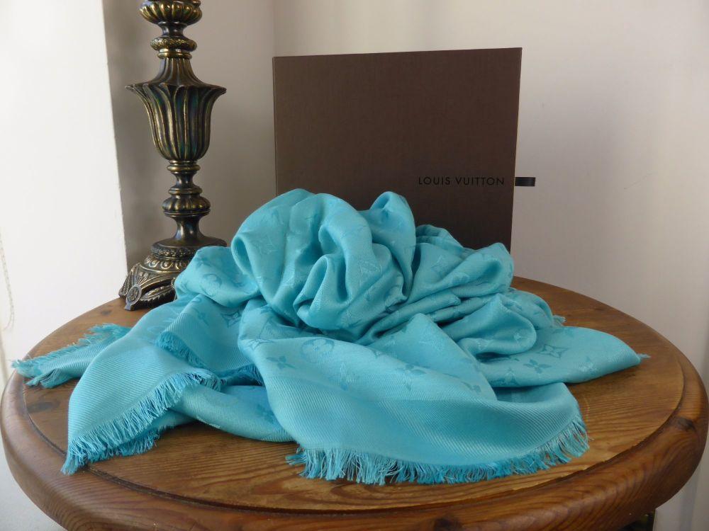 Louis Vuitton Monogram Turquoise Cyan Silk Wool Shawl Scarf - As New*
