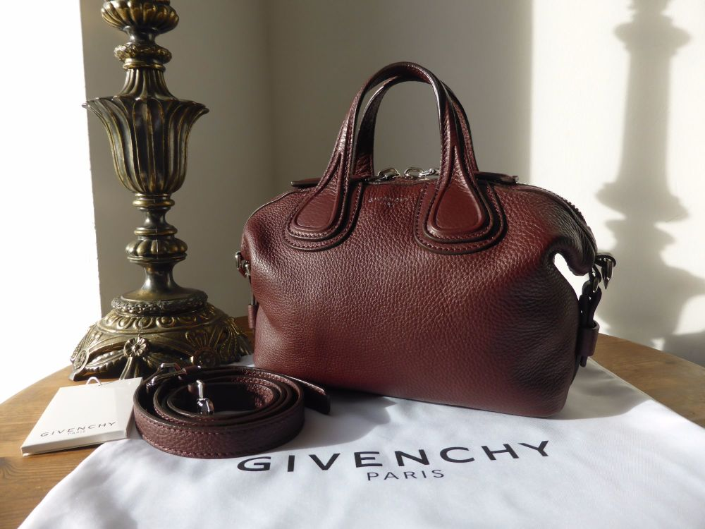 Givenchy Micro Nightingale in Oxblood Pebbled Calfskin - New