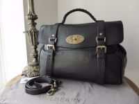 Mulberry Oversized Alexa in Black Polished Buffalo