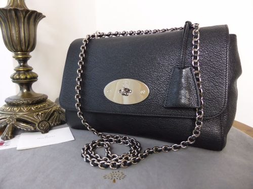 9e51b0041aa9 Mulberry Medium Lily in Black Grainy Print Leather with Silver Nickel hardw