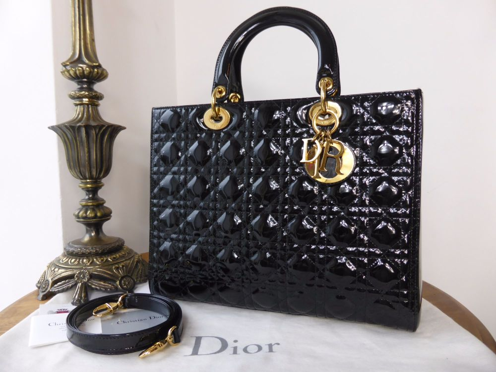 Dior Lady Dior Large Tote in Black Patent