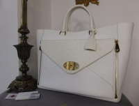 Mulberry Oversized Willow Tote in White Calfskin and Ostrich - New*