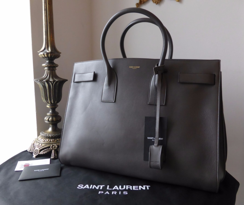 Saint Laurent YSL Classic Large Sac De Jour in Fog Grey Calfskin - New*