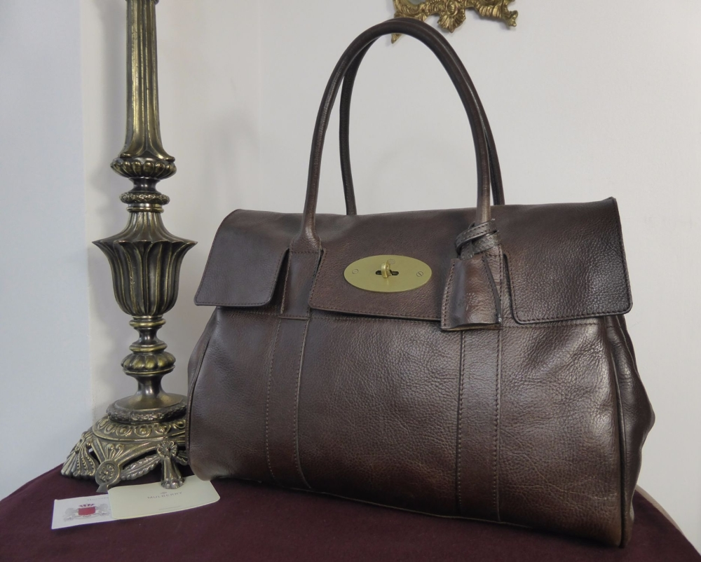Mulberry Classic Heritage Bayswater in Chocolate Natural Leather with Brass