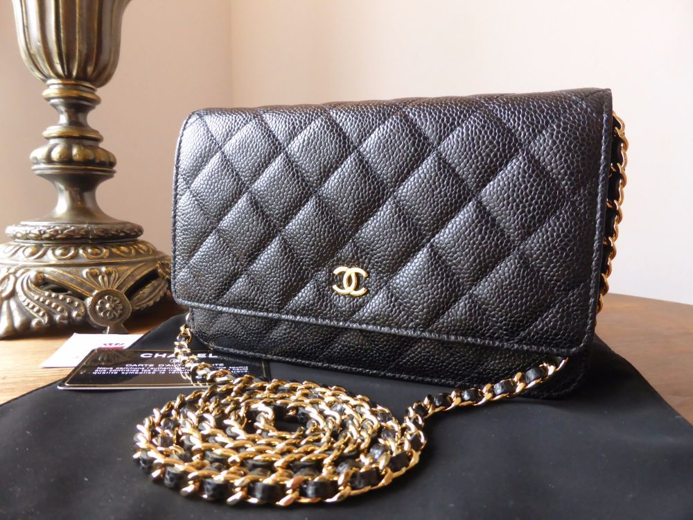 397c5df51d5487 Chanel WOC Wallet on Chain in Black Caviar Leather with Shiny Gold Hardware