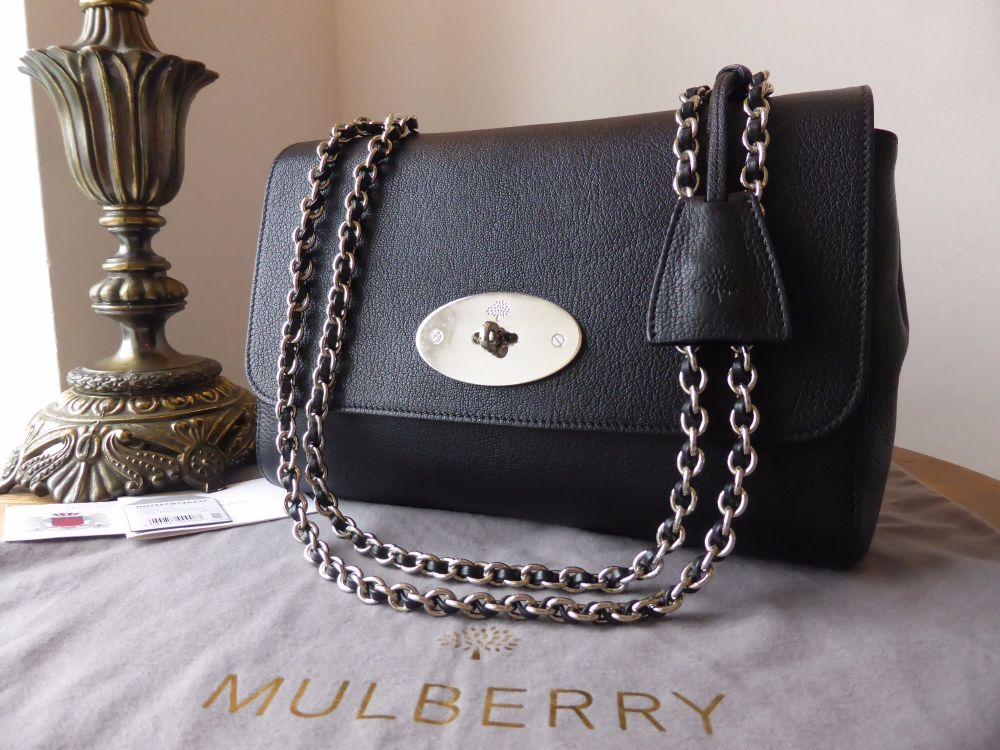 Mulberry Medium Lily in Black Glossy Goat with Silver Nickel Hardware - As