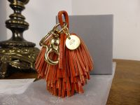 Mulberry Fringe Pom-Pom Keyring in Ginger Natural Leather - As New