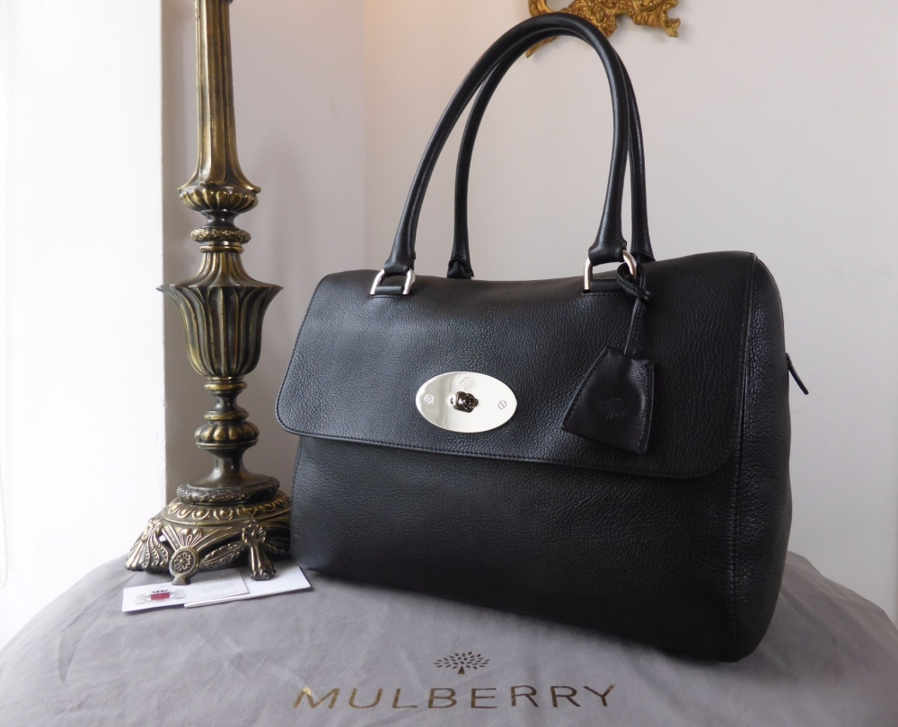 Mulberry Del Rey in Black Glossy Goat with Shiny Silver Nickel Hardware