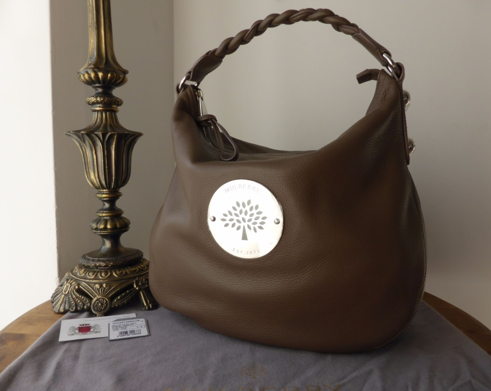 Mulberry Medium Daria Hobo in Taupe Spongy Pebbled Leather New