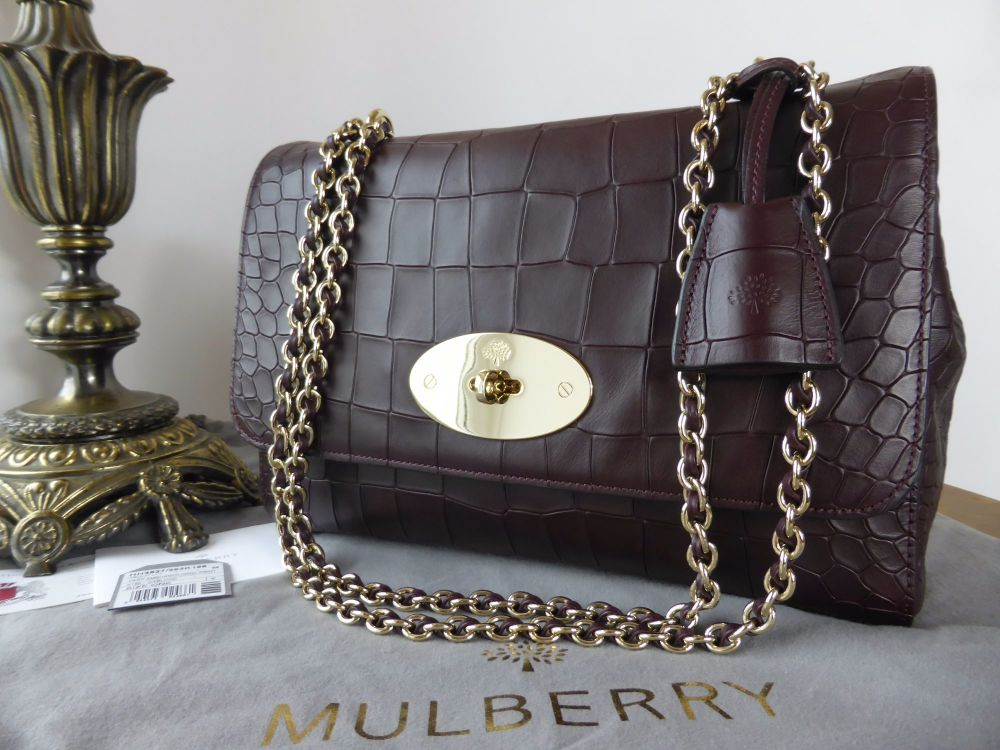 Mulberry Medium Lily in Oxblood Deep Embossed Croc Print - As New*