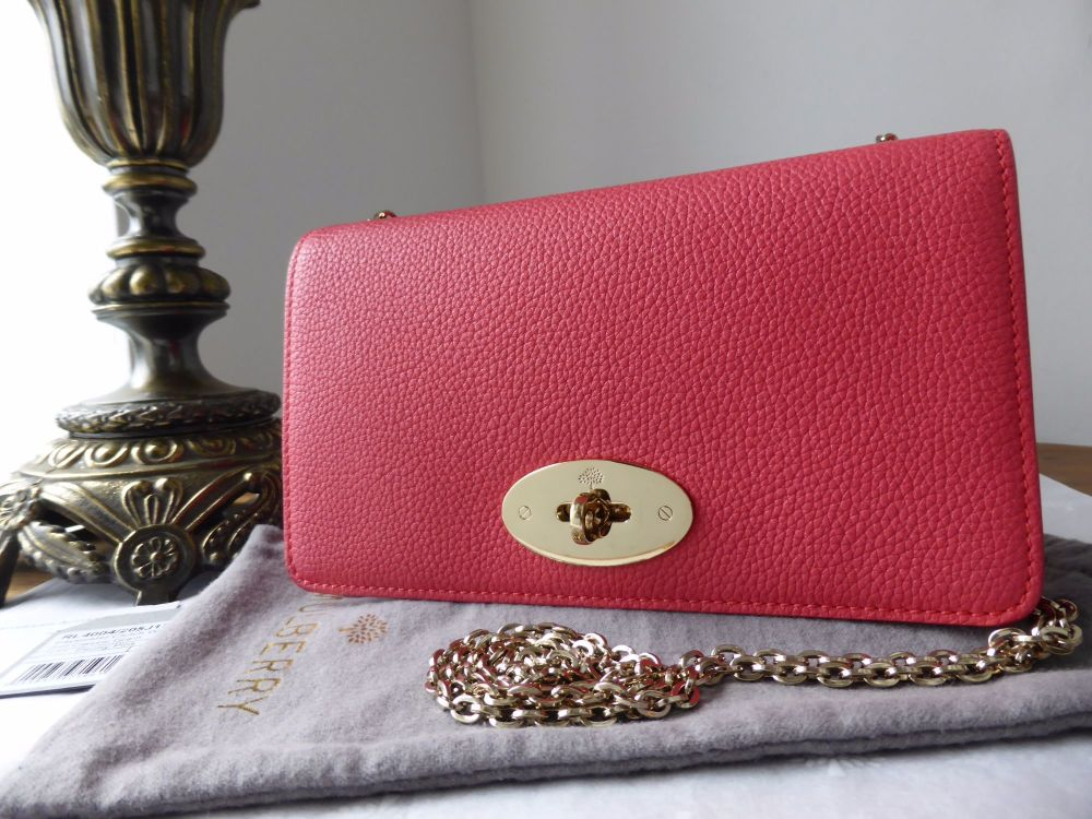 Mulberry Bayswater Clutch Wallet in Peony Pink Small Classic Grain