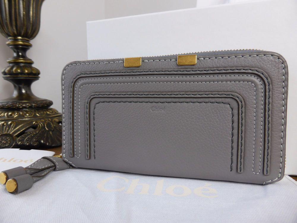 Chloe Marcie Long Zipped Wallet in Cashmere Grey Grained Calfskin - As New