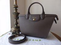 Longchamp Le Pliage Heritage Medium Tote in Grey Saffiano Leather - New