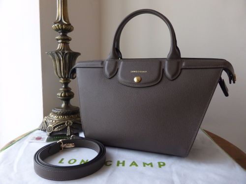 0e9046ad0d72 Longchamp Le Pliage Heritage Medium Tote in Grey Saffiano Leather ...