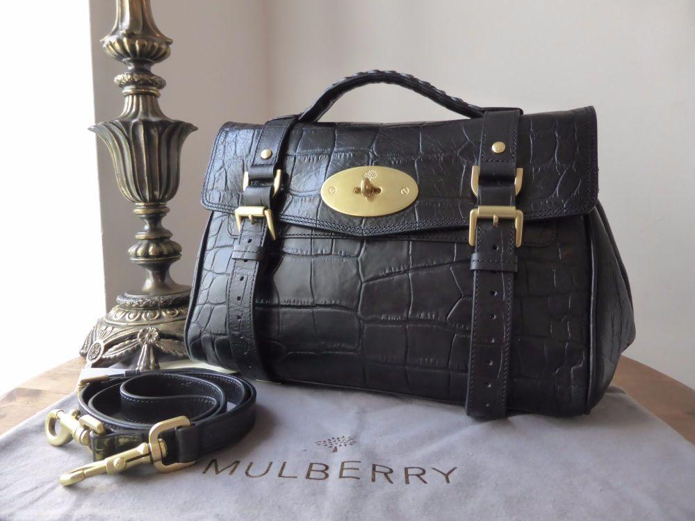 Mulberry Regular Alexa in Black Printed Leather