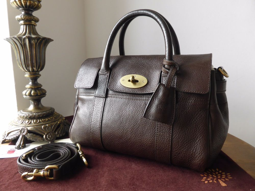 Mulberry Classic Small Bayswater Satchel in Chocolate Natural Leather