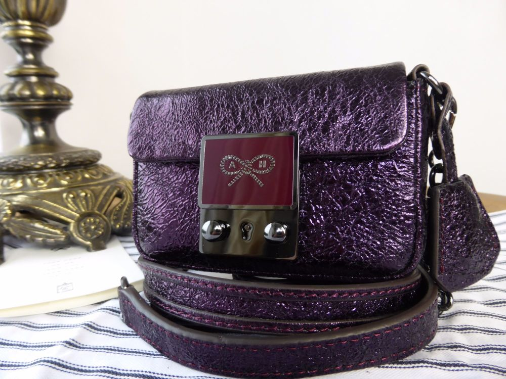 Anya Hindmarch Tiny Tim Mini Cross Body in Aubergine Metallic Crinkle Leath