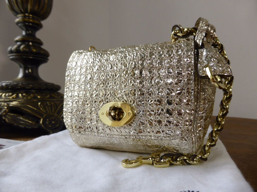 Mulberry Shrunken Lily Oversized Charm in Gold Metallic Diamond Sparkle Lea
