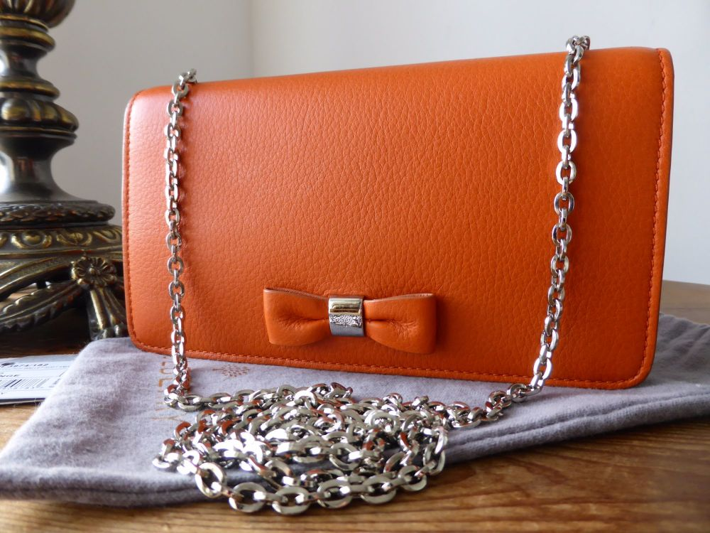 Mulberry Bow Clutch Wallet on Chain in Orange Soft Small Grain Leather As N