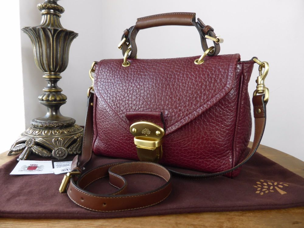 Mulberry Small Polly Pushlock Satchel in Conker Shiny Grain Leather