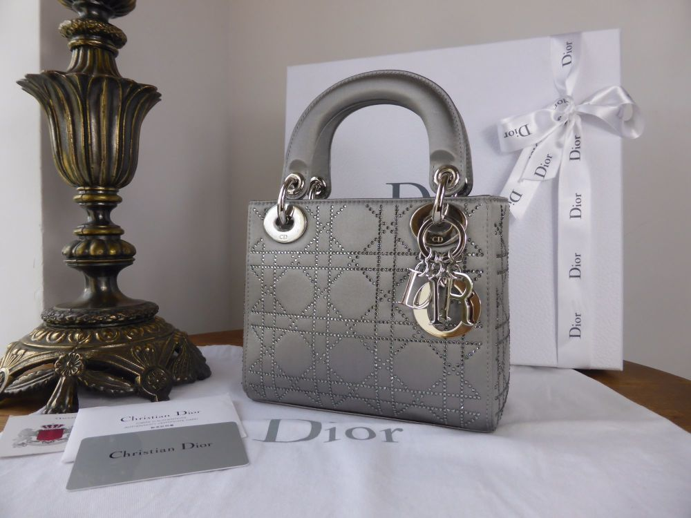 Dior Lady Dior Mini in Metallic Silver Satin Encrusted with Swarovski Cryst