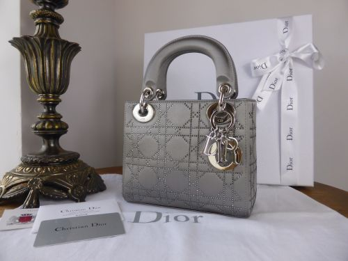 Dior Lady Dior Mini in Metallic Silver Satin Encrusted with Swarovski Cryst