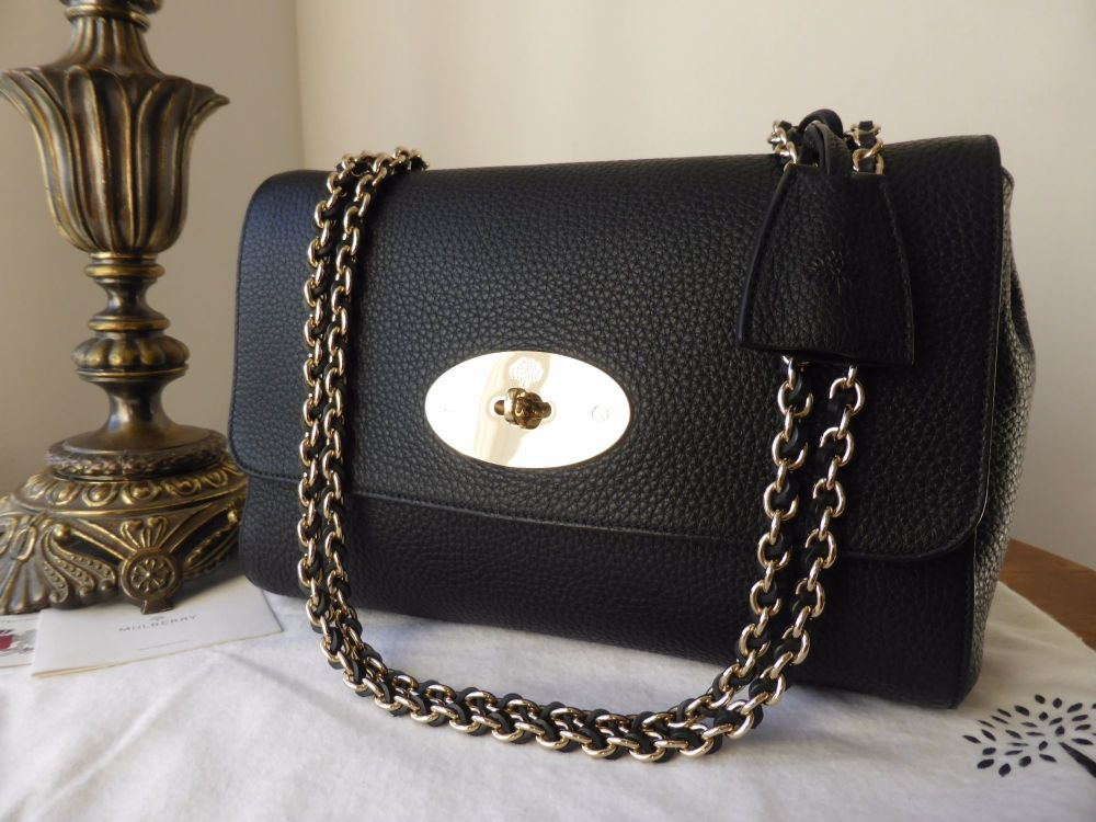 Mulberry Medium Lily in Black Soft Grain Leather with Shiny Gold Hardware